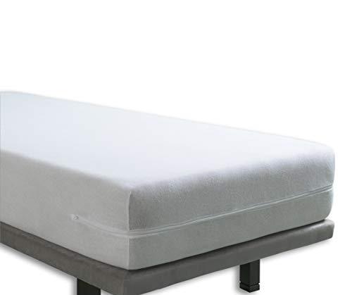 Tural - Elastischer Matratzenbezug mit Reißverschluss. Frottee aus 100% Baumwolle. Größe 90 x 200 cm