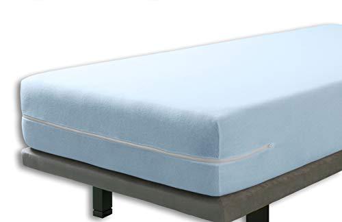 Velfont – Elastischer Matratzenbezug mit Reißverschluss, Frottee Baumwolle Matratzenauflage | Matratzenschonbezug - 90 x 190/200 cm - Hellblaue- Matratzenhöhe 30cm - verfügbar in verschiedenen Größen