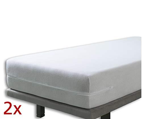 Velfont – Set mit 2X Elastischer Matratzenbezug mit Reißverschluss, Frottee Baumwolle Matratzenauflage | Matratzenschonbezug - (2X) 90 x 190/200 cm - Weisse - Matratzenhöhe 30cm