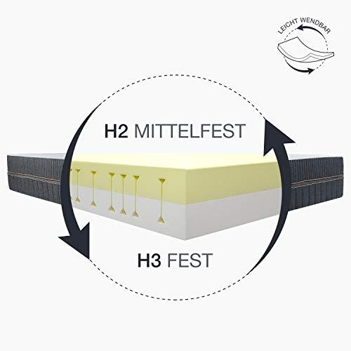 BedStory 18cm Matratze, Kaltschaummatratze Medium-7 Zonen Matratze 90 x 200 cm- Härtegrad H2 & H3-Grau
