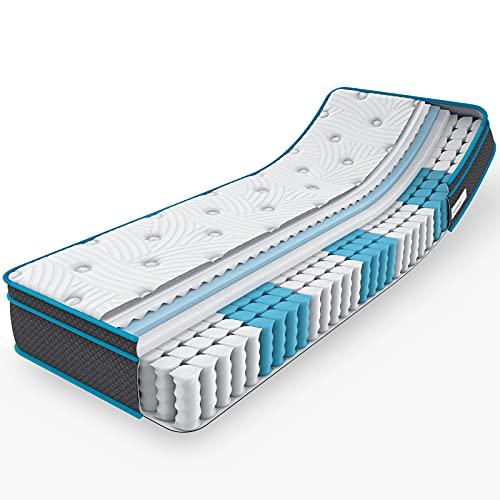 iHomy Matratze 100x200cm, ergonomische 7-Zonen Tonnentaschenfederkernmatratze Kaltschaummatratze Boxspring Mattress mit CertiPUR-US und Öko Tex Zertifiziert(Härtegrad H2, Euro-Top, Höhe 25cm)