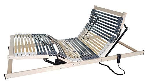 Matratzen Perfekt 7-Zonen Motor-Lattenrost mit 5-facher Härtegrad-Regulierung und 42 Federleisten, elektrisch verstellbar und orthopädisch mit elektrischen Motor-Rahmen (80 x 200 cm)