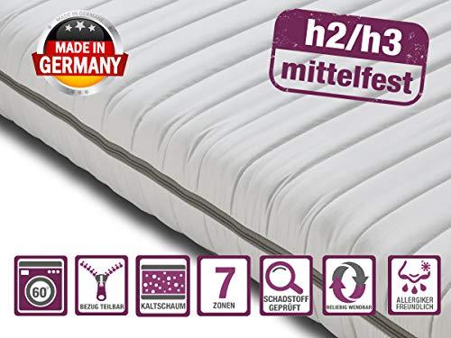 BMM Matratze Klassik 15 - orthopädische 7-Zonen Kaltschaummatratze 90x200 cm, H2 / H3 mittel-fest, Bezug V1 Microfaser, Höhe 15cm